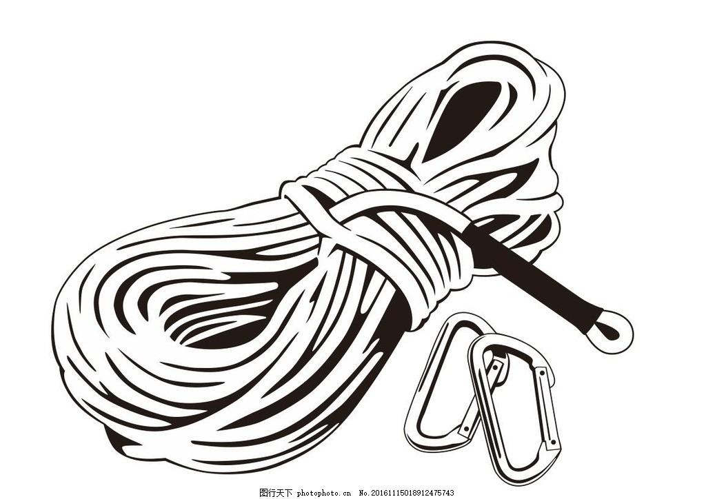 登山绳索 绳索 攀岩绳索 简笔画 线条 线描 简画 黑白画 卡通 手绘