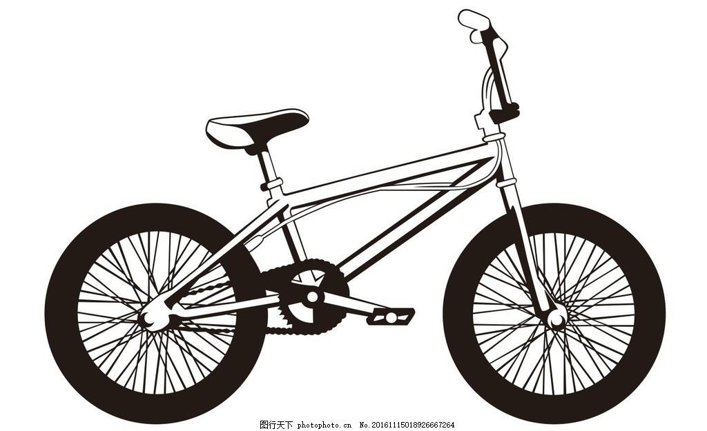 自行车 车子 脚踏车 简笔画 线条 线描 简画 黑白画 卡通 手绘 简单
