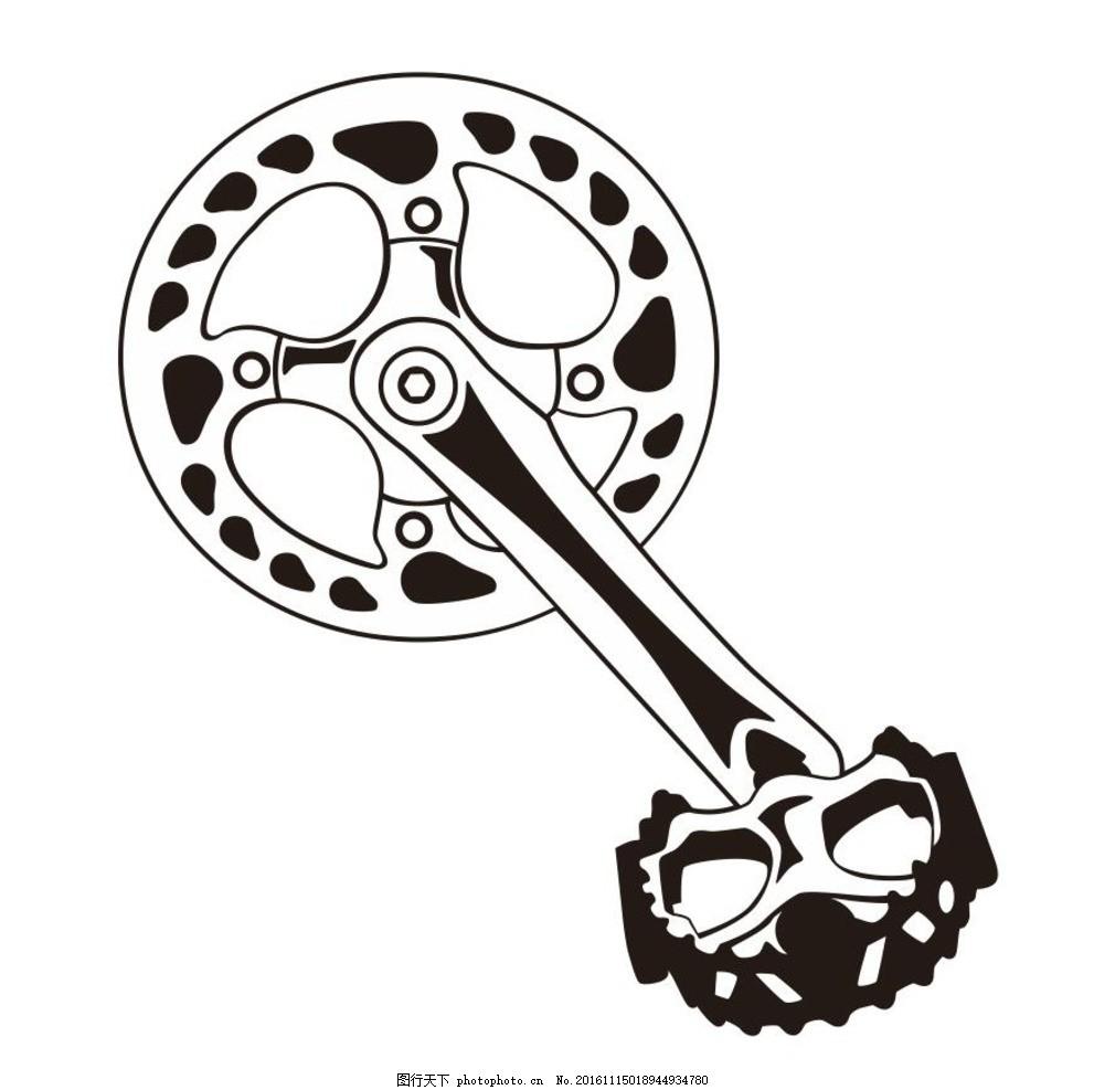 脚踏车 脚踏板 自行车配件 简笔画 线条 线描 简画 黑白画 卡通 手绘