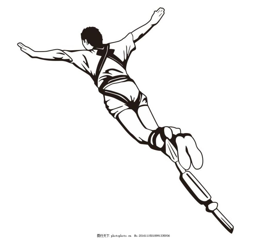 蹦极 蹦极运动 简笔画 线条 线描 简画 黑白画 卡通 手绘 简单手绘画