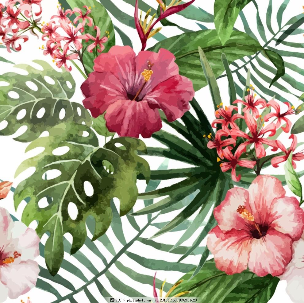 矢量花卉 矢量花朵 花朵 手绘花朵 手绘叶子 叶子 树叶 热带植物 绣球