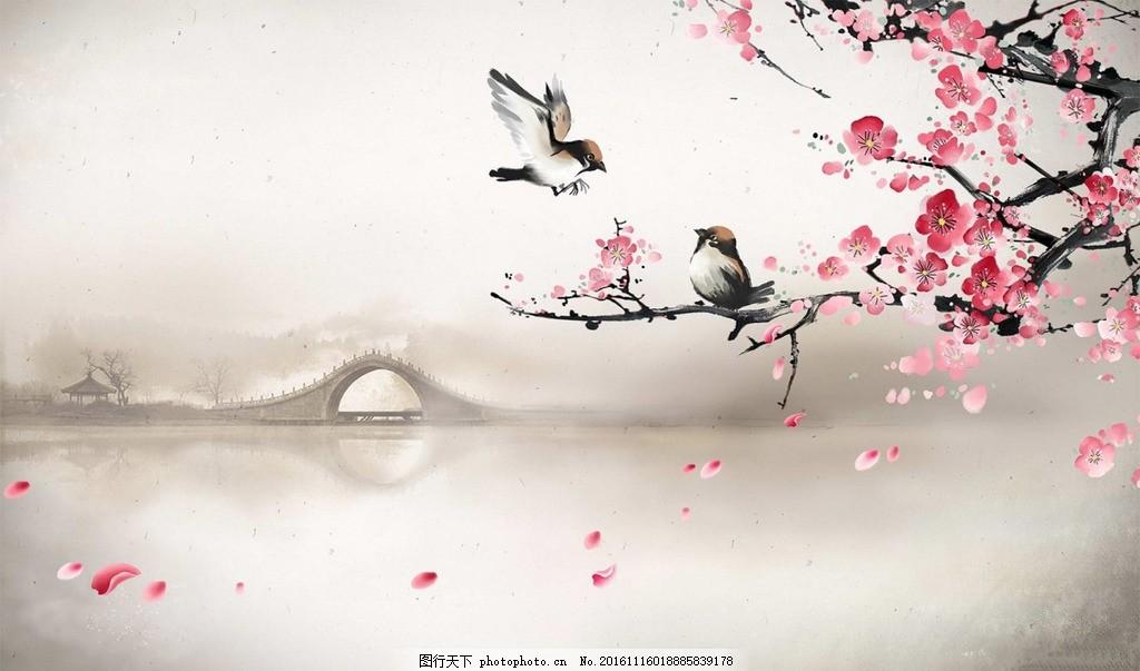 古风背景 风景 古风 水墨 背景 桃花 设计 文化艺术 传统文化 300dpi