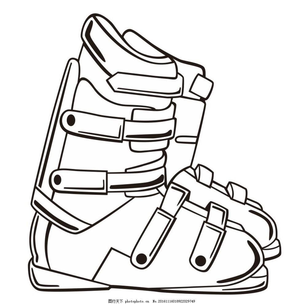 靴子 铁靴 铁靴子 鞋子 棉鞋 简笔画 线条 线描 简画 黑白画 卡通