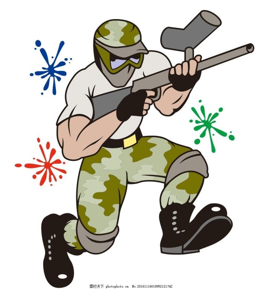 枪战 游戏 简笔画 线条 线描 简画 黑白画 卡通 手绘 简单手绘画