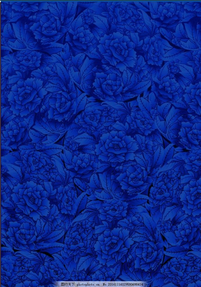 蓝色花朵 花卉 图案 背景墙 金色背景 欧式浮雕 时尚 潮流 梦幻 墙纸