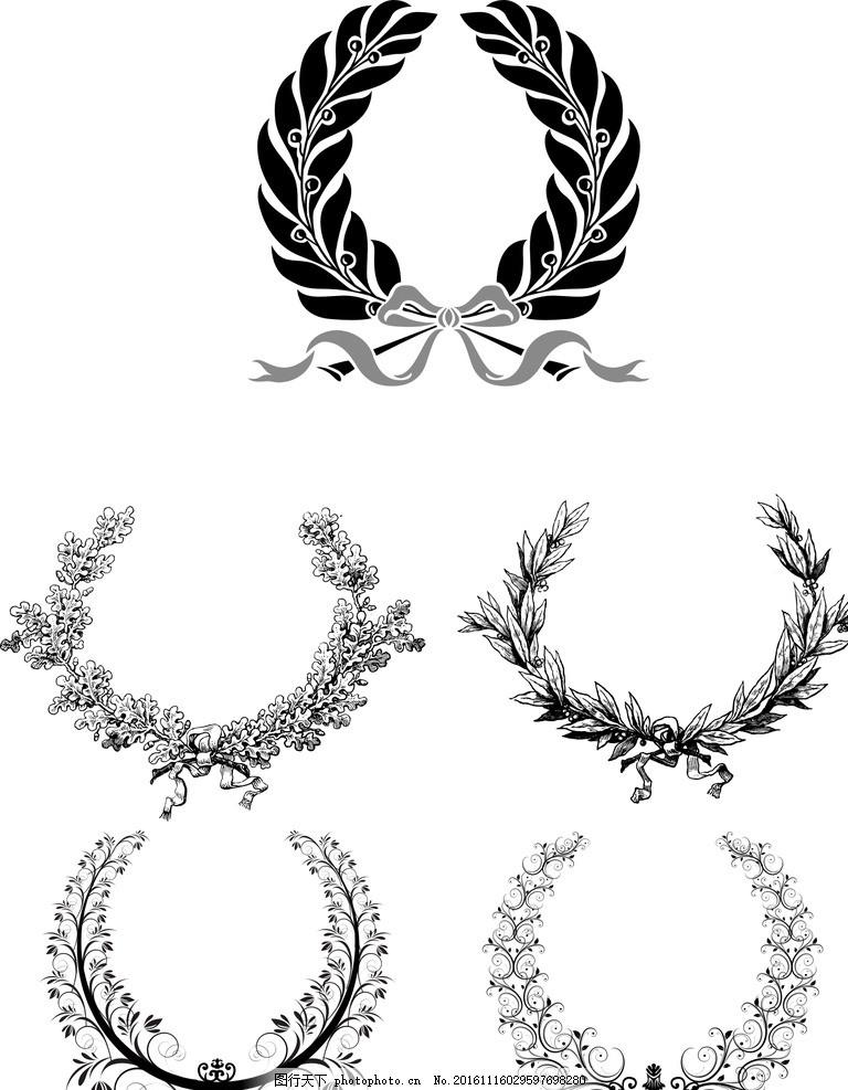 橄榄枝图标 矢量 奖章标志 树叶花环 植物花环 麦穗花环 标志设计