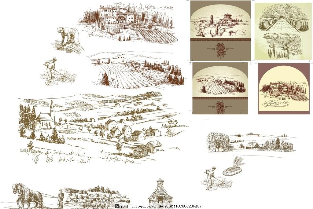 手绘风景 线条图片 线条风景 手绘图片 农田 矢量图 野外风景