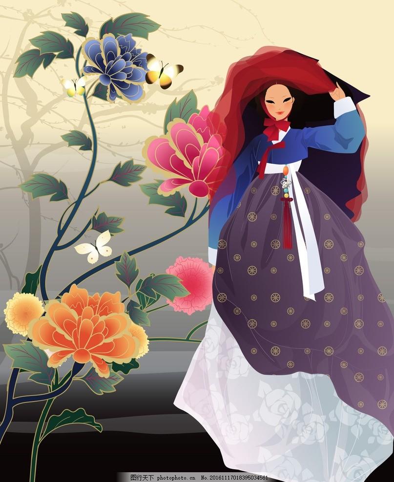 韩服美女 韩服 美女 韩国卡通女 手绘女 韩国古代女 设计 动漫动画