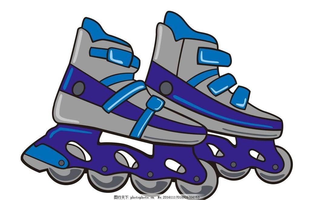 旱冰鞋,轮滑 滑轮 滑旱冰 简笔画 线条 线描 简画-图