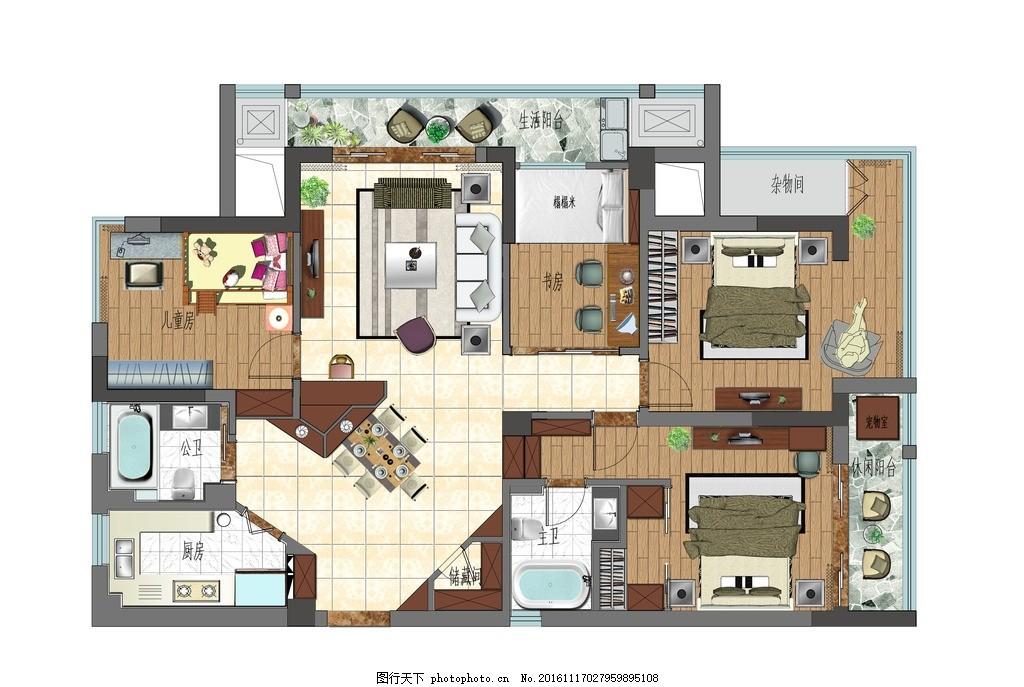 室内设计平面彩平图,沙发 地砖 卫生间 厨房 卧室-图