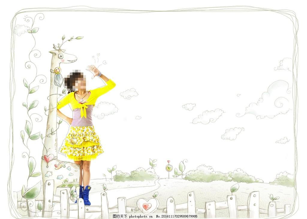 韩国时尚人物 壁纸及配套 背景图片素材 可爱小仙子 草堆 女性 花草