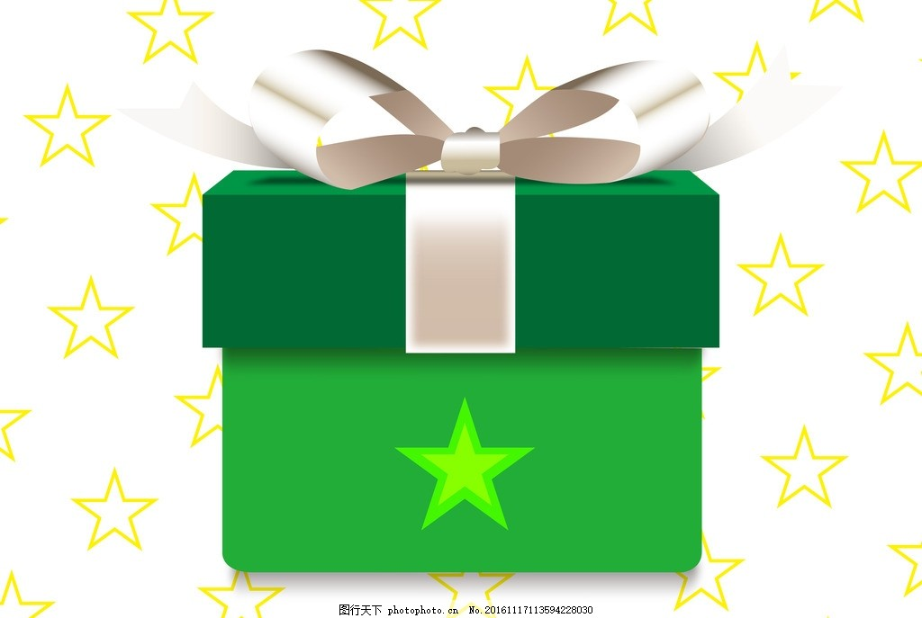星星圣诞礼盒 星星背景 圣诞节 礼品 礼物 银色丝带 圣诞礼物
