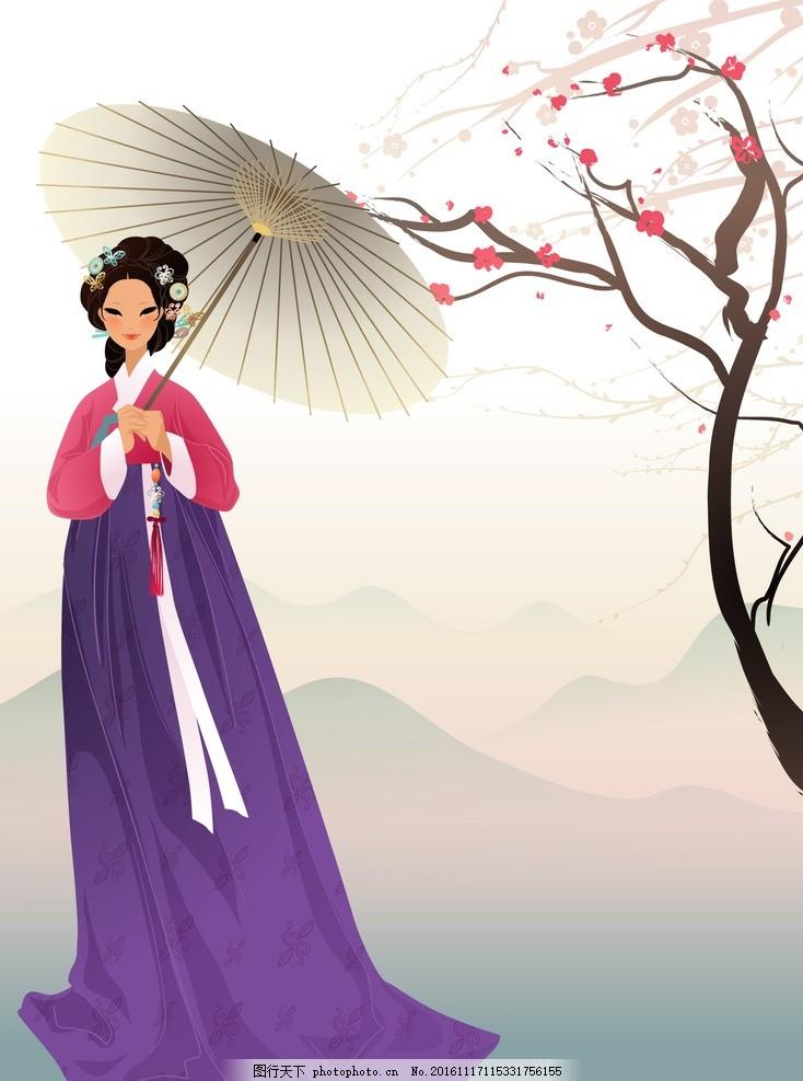 韩服美女 韩国卡通女 手绘女 韩国古代女 动漫动画 动漫人物