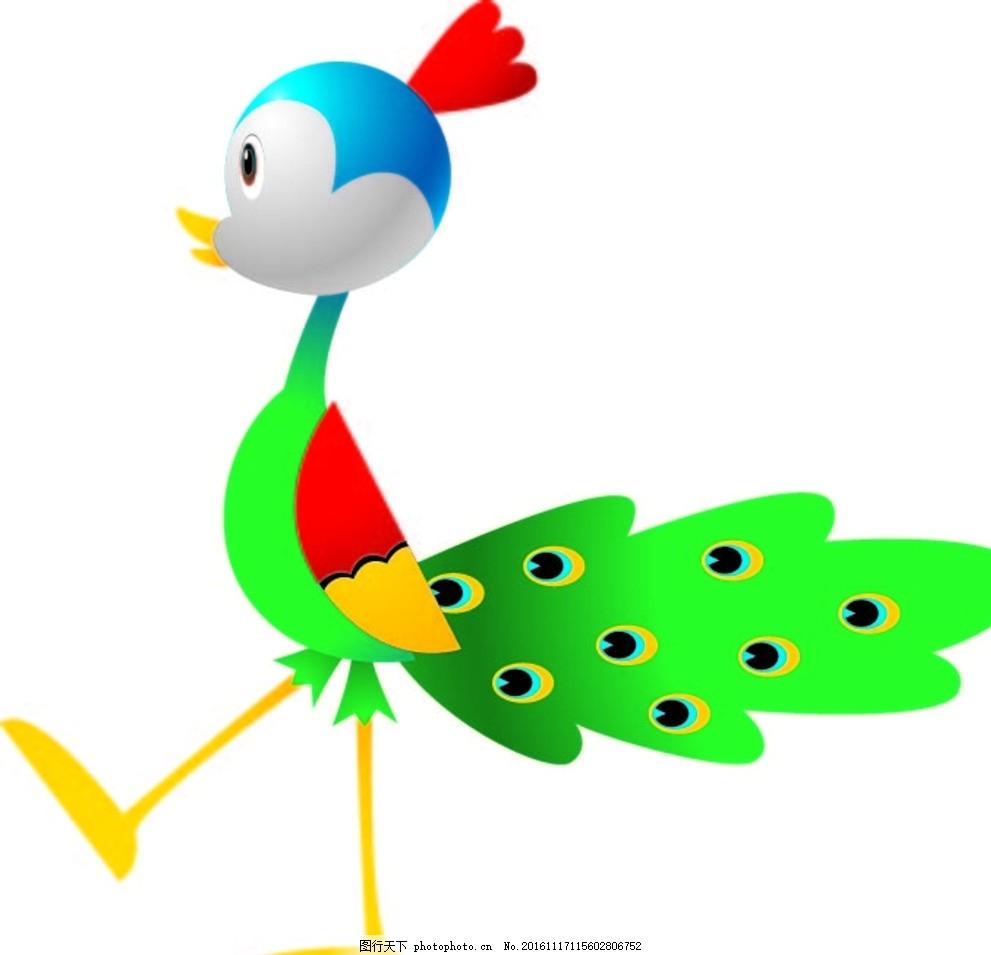 孔雀 创意图案 卡通背景 抽象动物 卡通动物 趣味背景 可爱动物 底纹