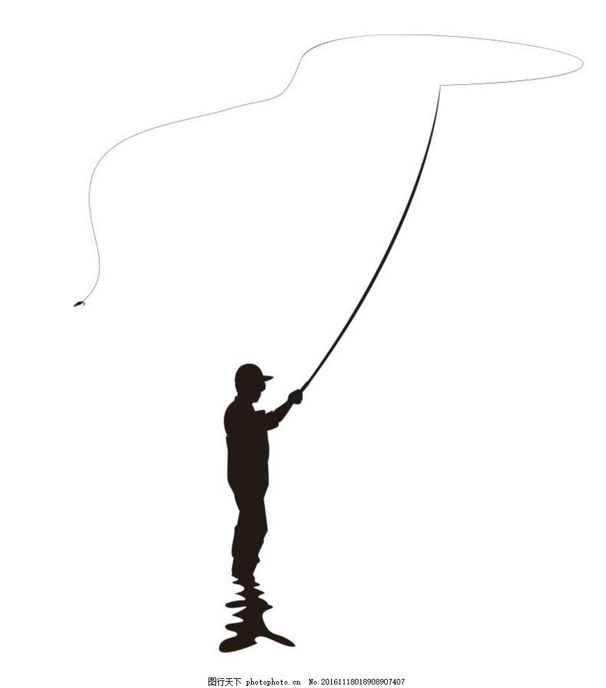 钓鱼剪影 钓鱼 插画 装饰画 简笔画 线条 线描 简画 黑白画 卡通 手绘