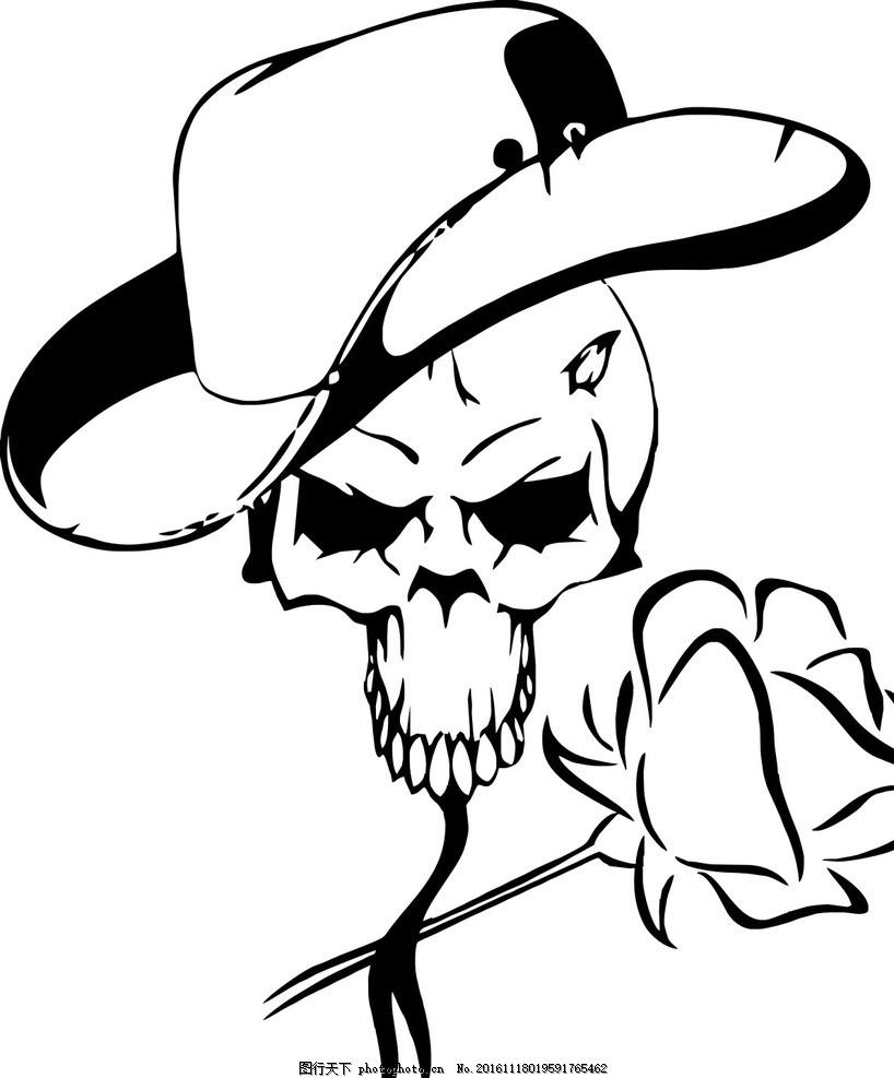 骷髅牛仔 骷髅 牛仔 帽子 玫瑰花 黑白图 矢量图 奇异 设计 文化艺术