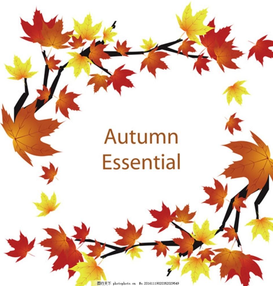 秋叶 秋季 秋天 枫叶 底纹 背景 花纹 边框 平面设计 封面设计