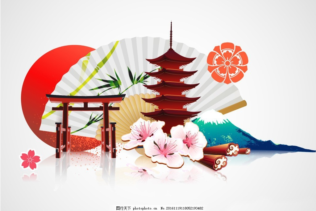 中式建筑 中国风图标 传统素材 中式建筑 拱门 中国风图标 佛塔 扇子