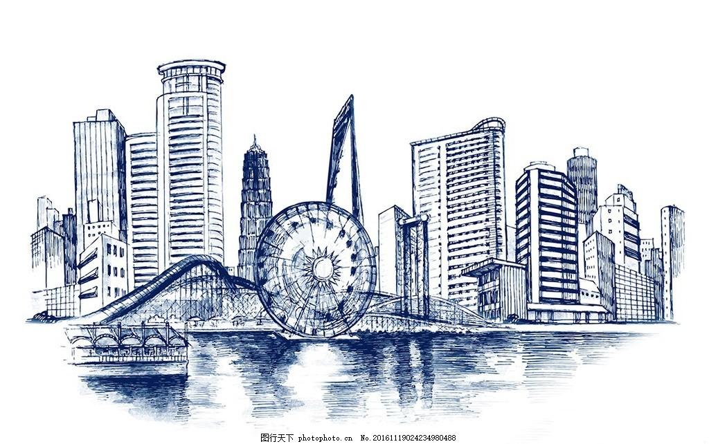 手绘城市 简约 彩色城市 线条 剪影 建筑线条 时尚都市夜晚 楼房