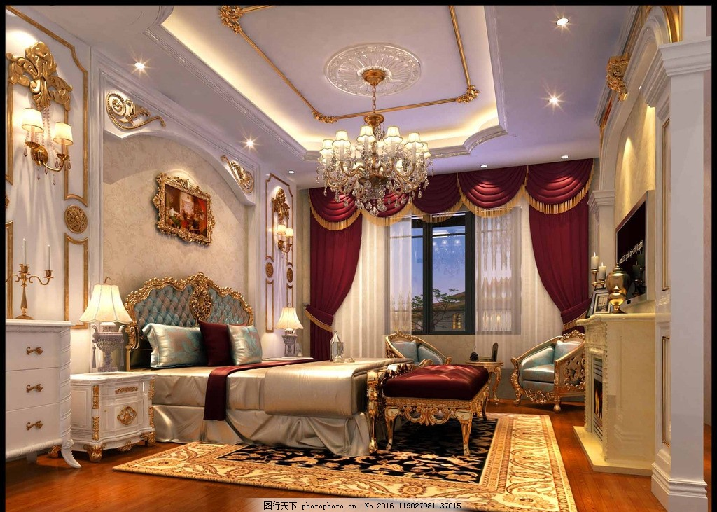 客厅效果图 室内 高清 欧式