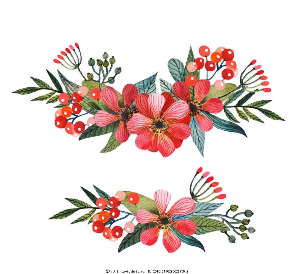 水彩花朵 植物 花卉 花朵水彩 彩绘 矢量图