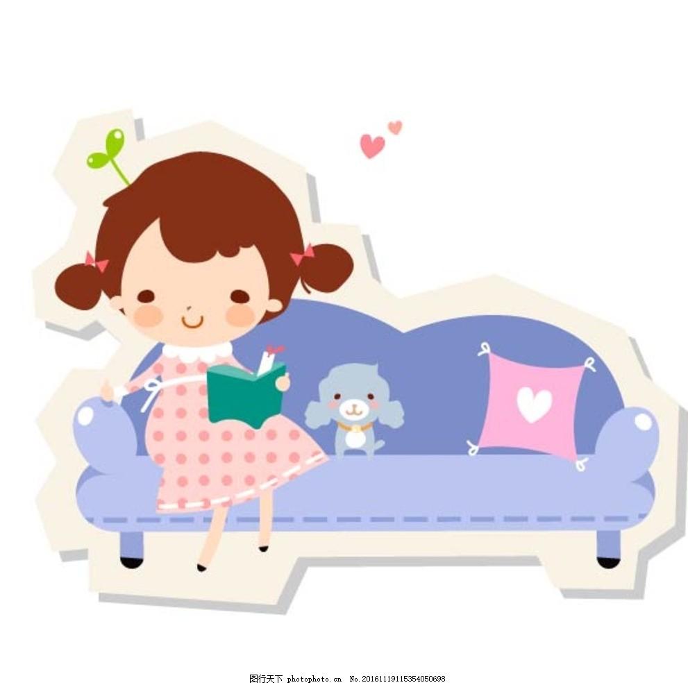 室内沙发美女人物素材 卡通背景 梦幻背景 儿童卡通 学校 学生