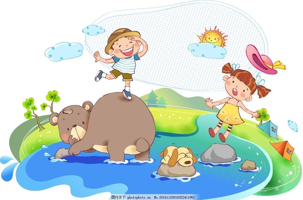 儿童户外游玩素材 卡通背景 梦幻背景 儿童卡通 学校 学生 儿童乐园图片