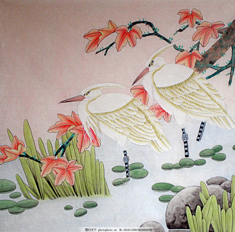 国画 鸟 工笔画 枫叶 草 浮萍 石头 花鸟