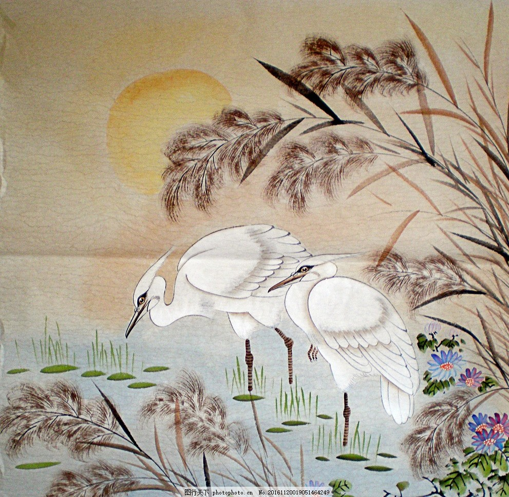国画工笔画 工笔画 鹤 鸟 夕阳 小花卉 草 花鸟 设计 文化艺术 绘画