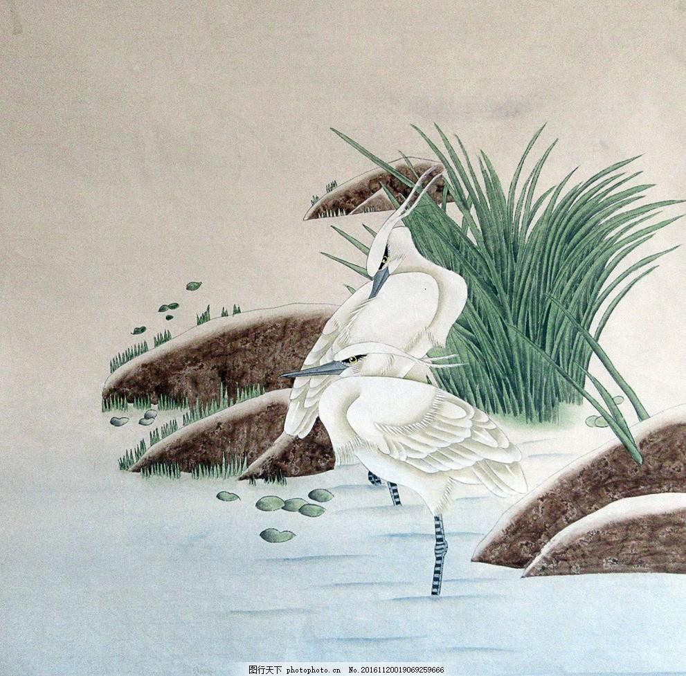 国画工笔画鸟 小草 石头 鹅卵石 溪流 花鸟