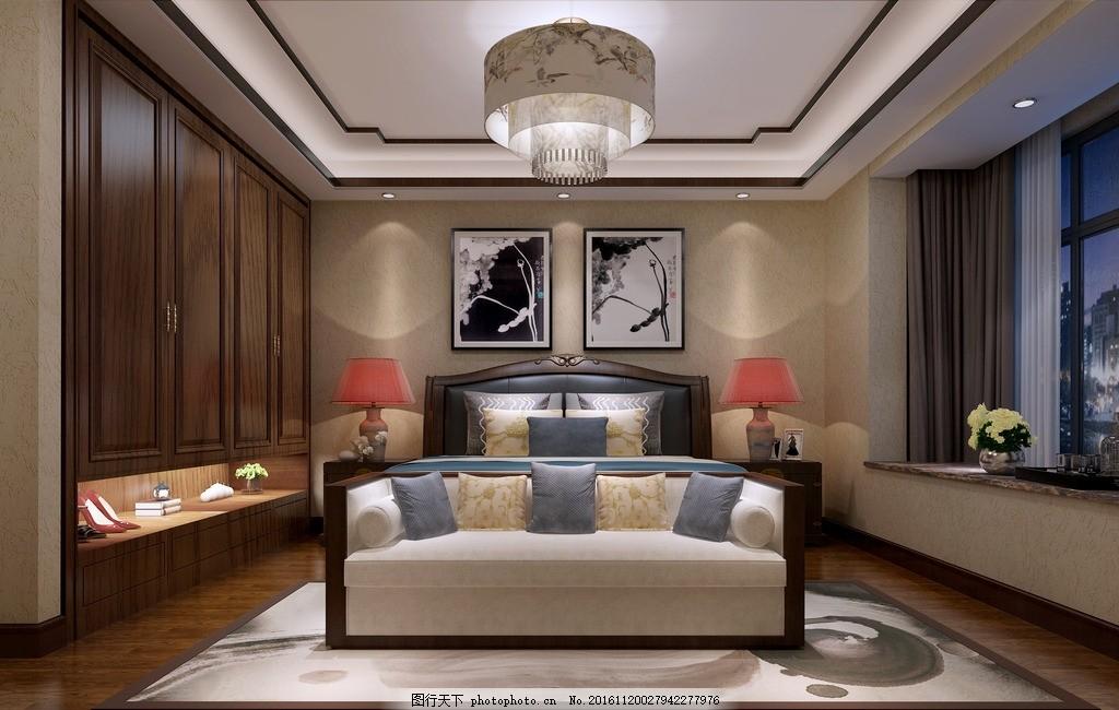主卧 简中 衣柜 床 中式 飘窗 设计 环境设计 室内设计 6858dpi jpg