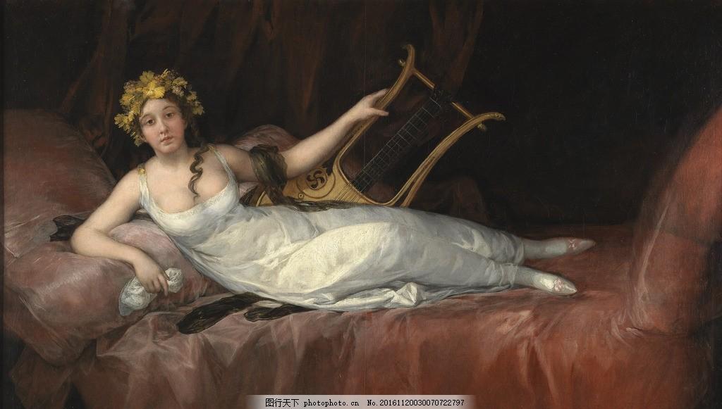 电视沙发背景 电视背景墙 巨幅 欧式古典 唯美人物 人物壁画 大型欧美
