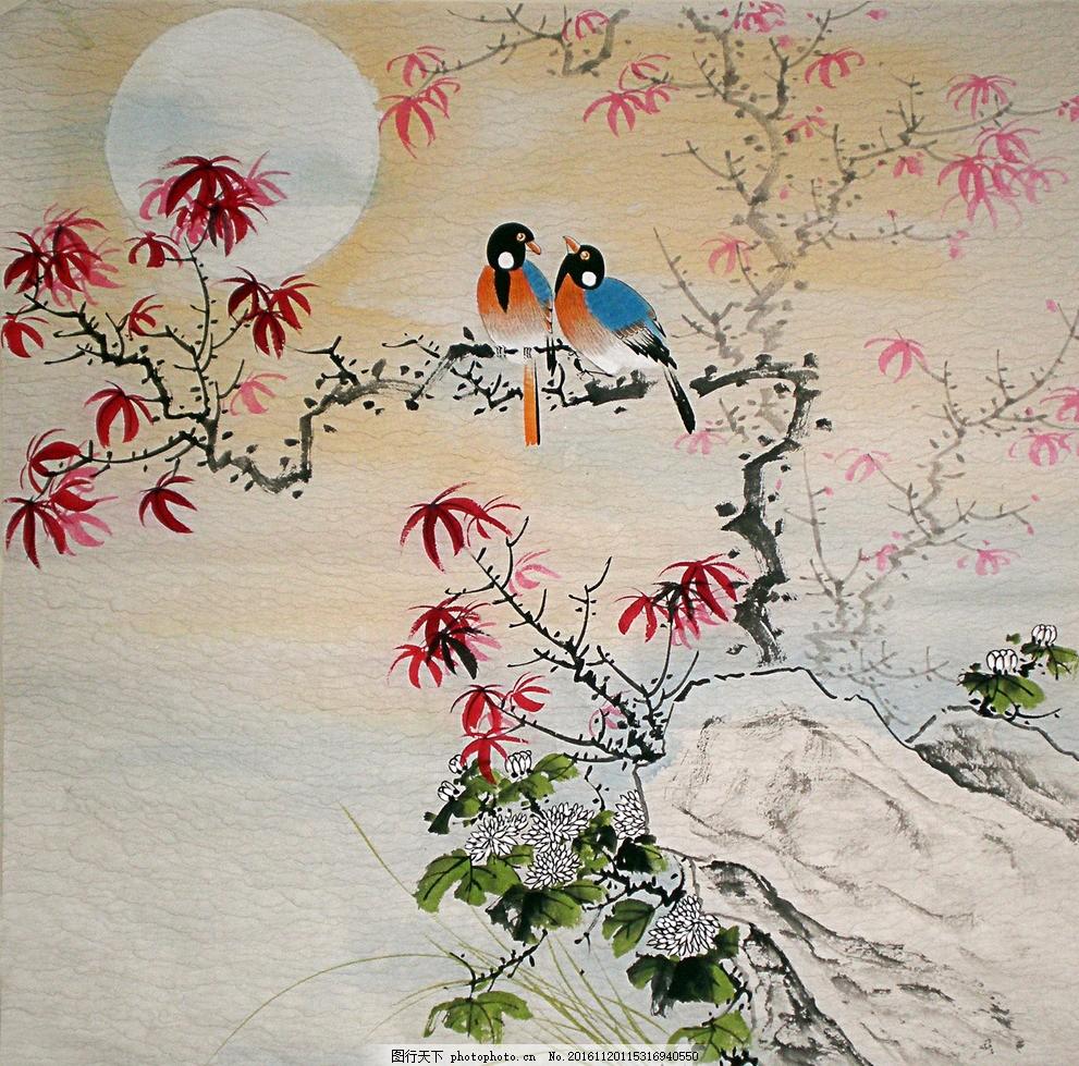 国画 工笔鸟 国画工笔画 鸟 枫叶 太阳 树枝 花鸟 设计 文化艺术 绘画