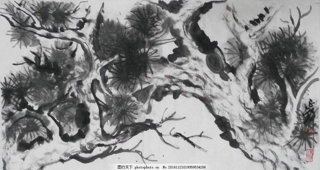古松图 松树 国画 写意画 书法 仿古画 传统画 古典 水墨 我的国画
