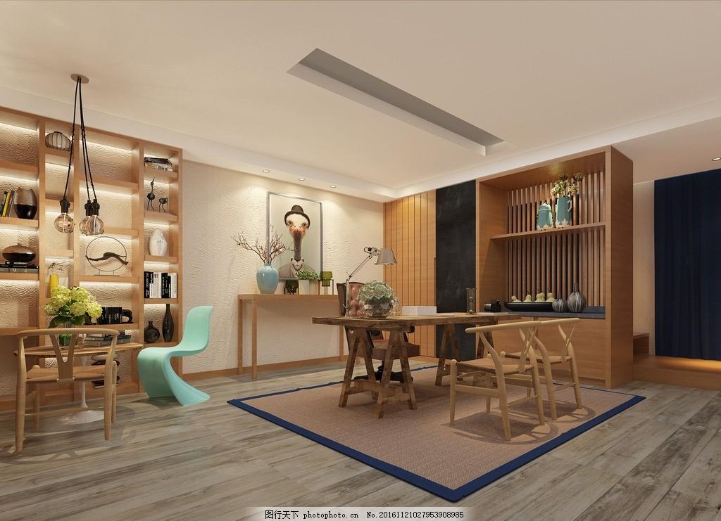 玻璃球吊灯 y字椅 新中式 剑麻地毯 办公室 水吧台 茶室 装饰画 3d图片