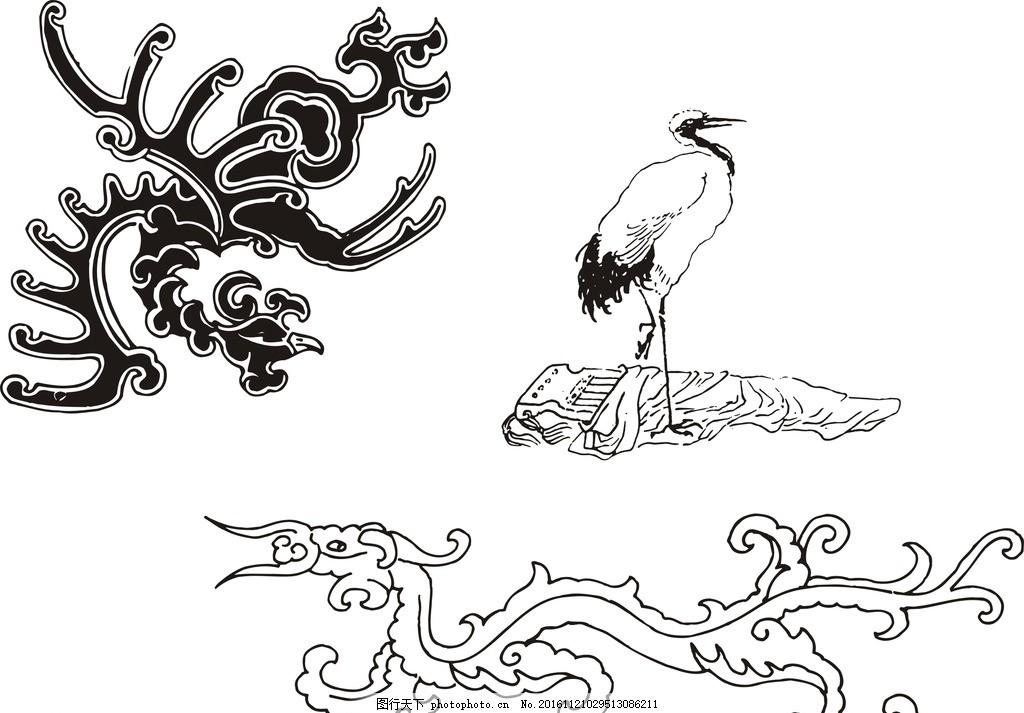 黑白 素描 仙鹤 仙鹤素材 仙鹤矢量素材 素材 手绘素材 鹤 矢量仙鹤