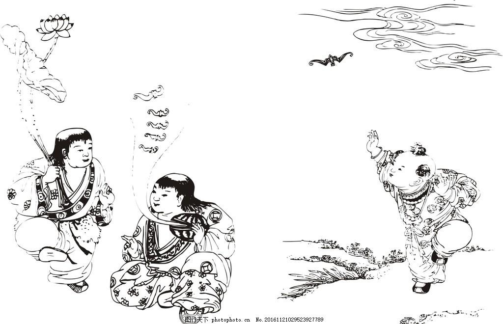 中国古代雕刻图案线稿