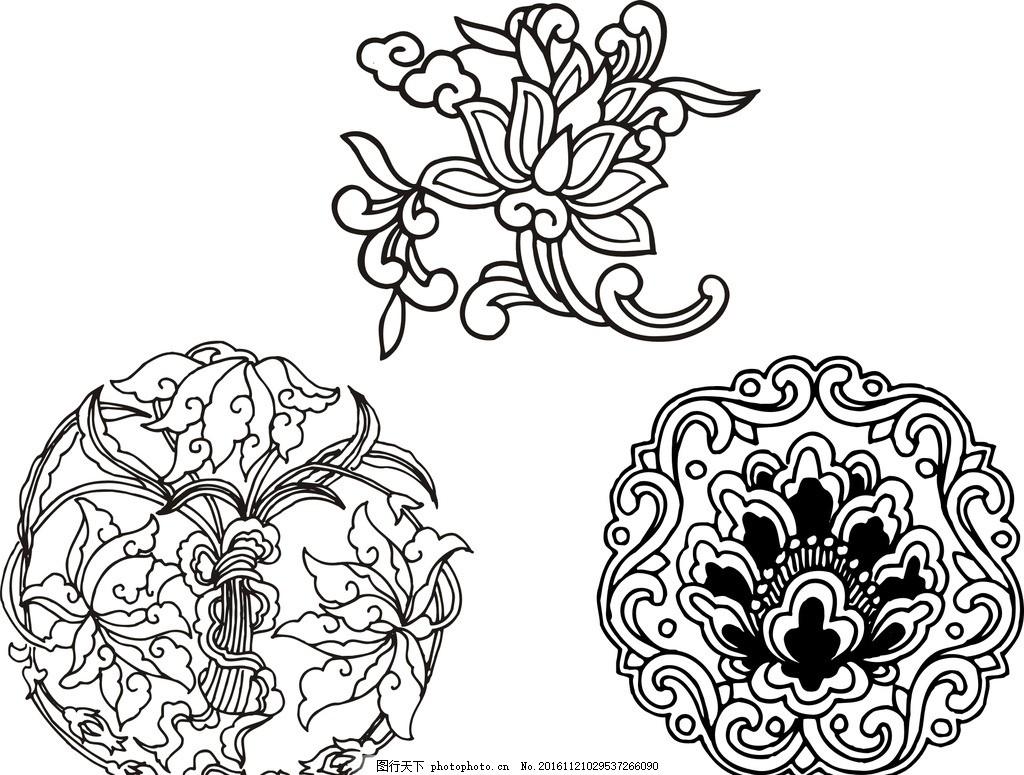 圆形花纹 古典圆形花纹 中国传统元素 秦汉时代图案 佛教花纹 佛教
