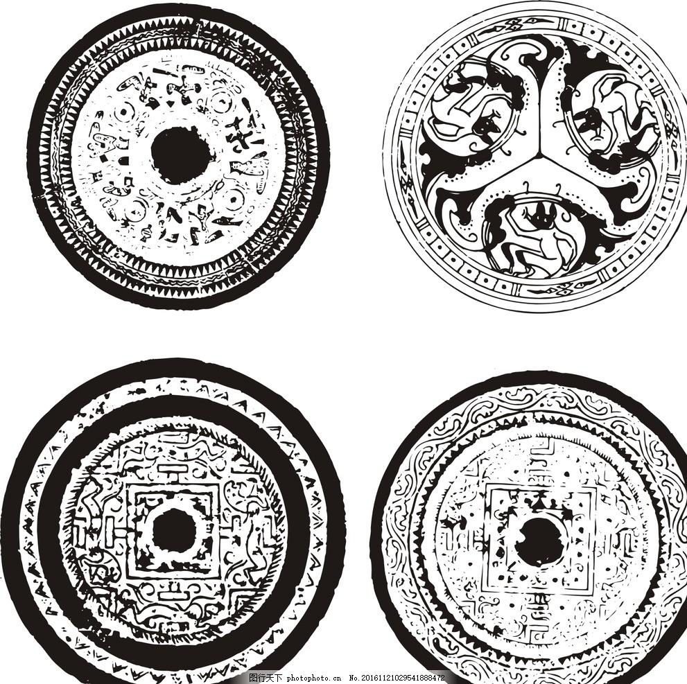 古代圆形花纹 黑白 矢量圆形花纹 经典 精美 古典花纹 欧式花边