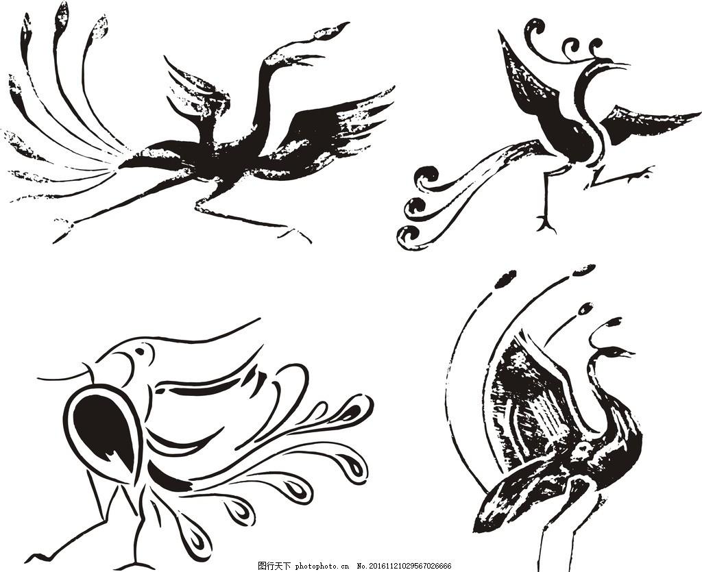 纹身刺青图案 纹身 刺青 神鸟 抽象凤凰 矢量凤凰素材 古典素材 传统图片