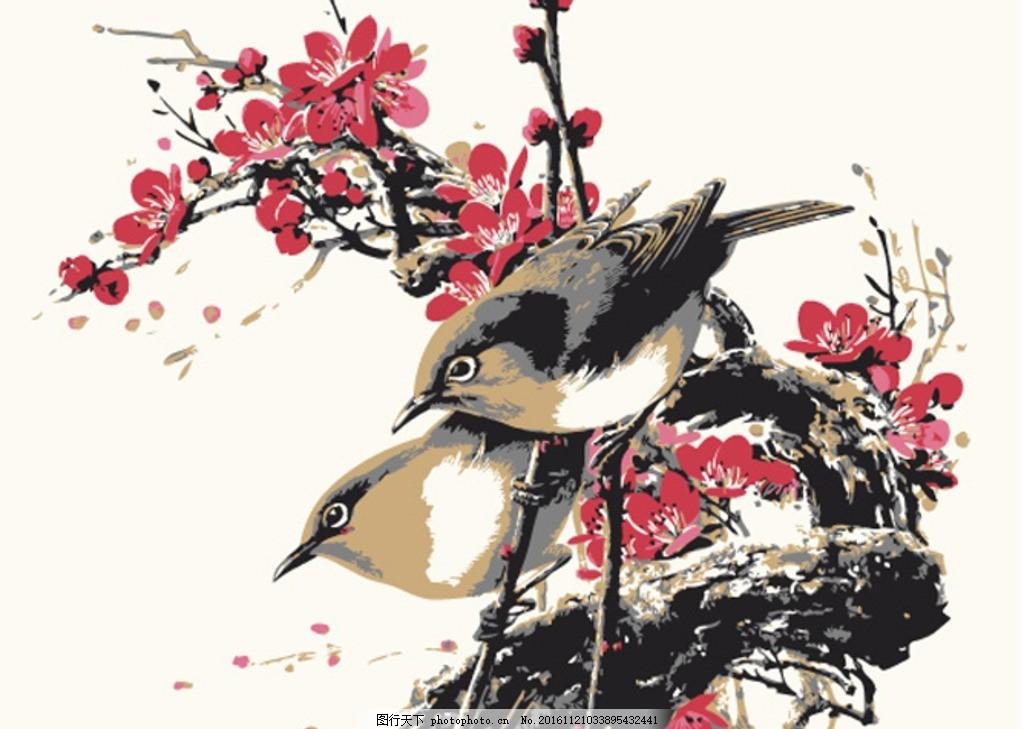 国画梅花 两只小鸟 矢量手绘图