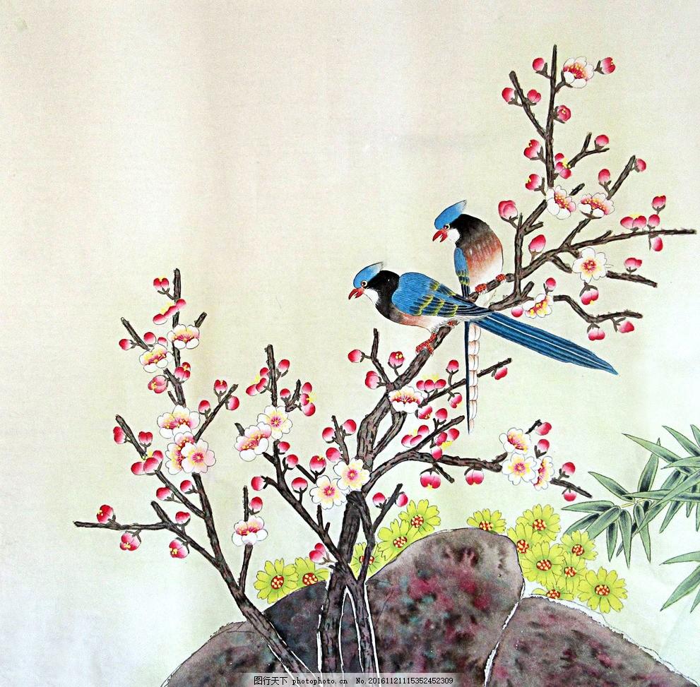 工笔花鸟 国画 梅花 花卉 竹子 文化艺术 绘画书法