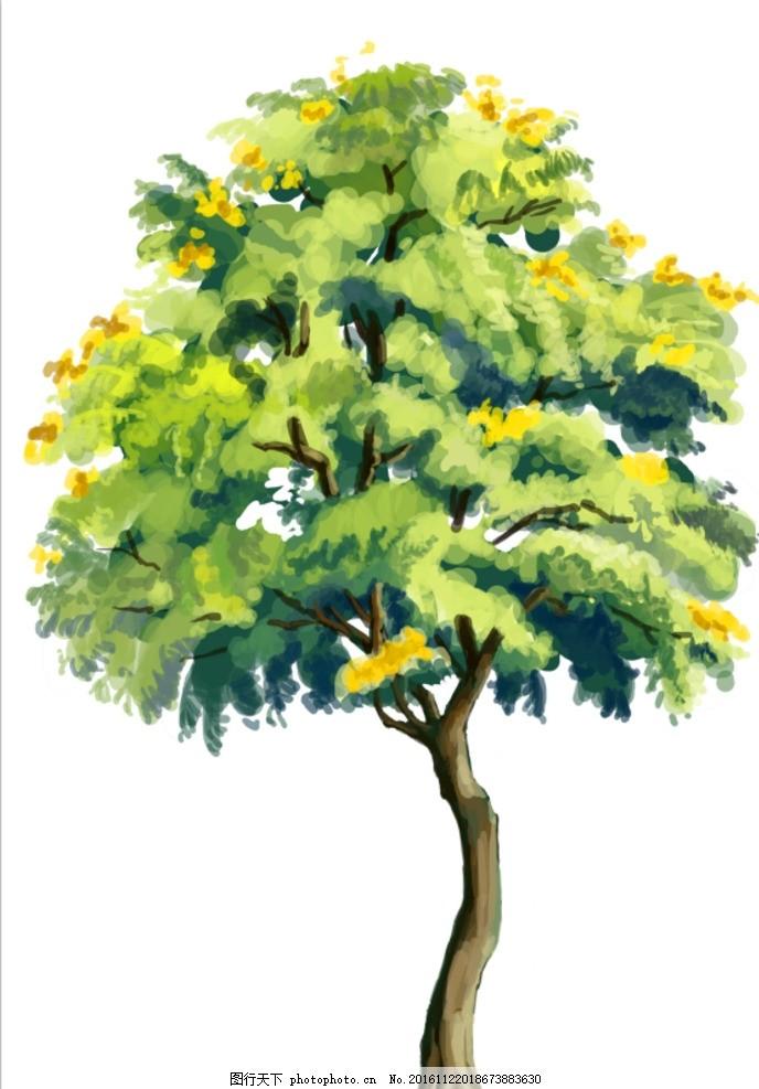 手绘树木 插画 手绘 植物 桂花树 绿植 设计 动漫动画 其他 500dpi