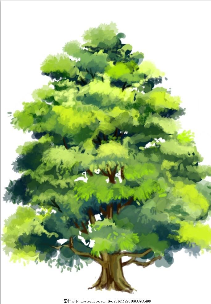 手绘树木 插画 植物 绿植 动漫动画