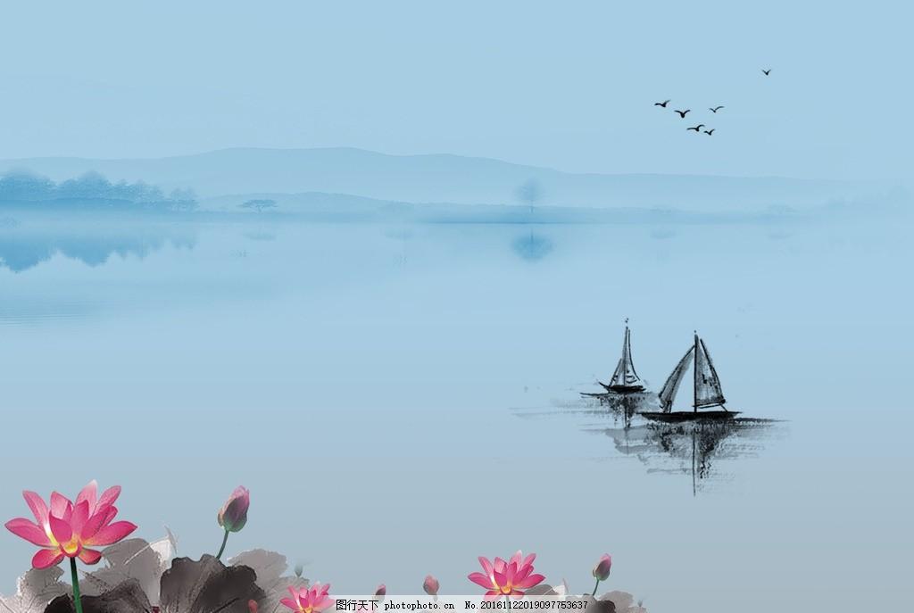 水墨画 荷花 荷叶 河船山鸟 背景 水墨画图片