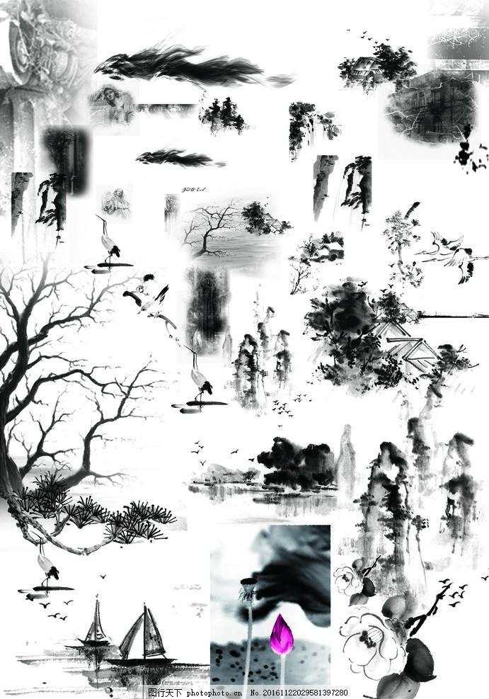 古典水墨,山水 荷花 樹枝 仙鶴 中國風 水墨畫背景-圖