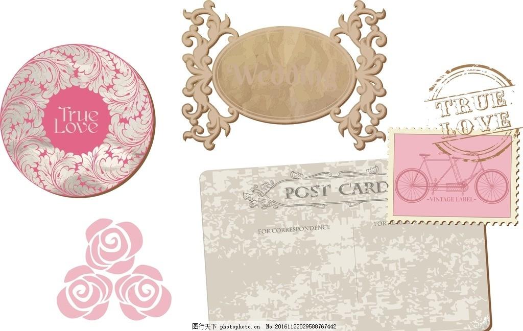 时尚 矢量素材 复古古典 欧式 欧式花纹边框 复古花纹边框 邮票 矢量