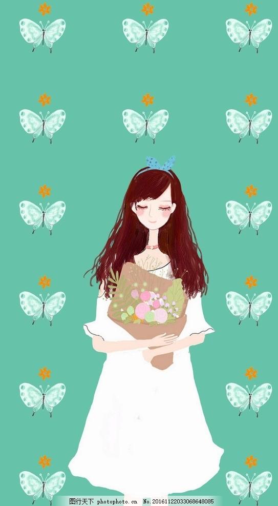 小女孩素材 手绘插画 蝴蝶 花卉 小清新