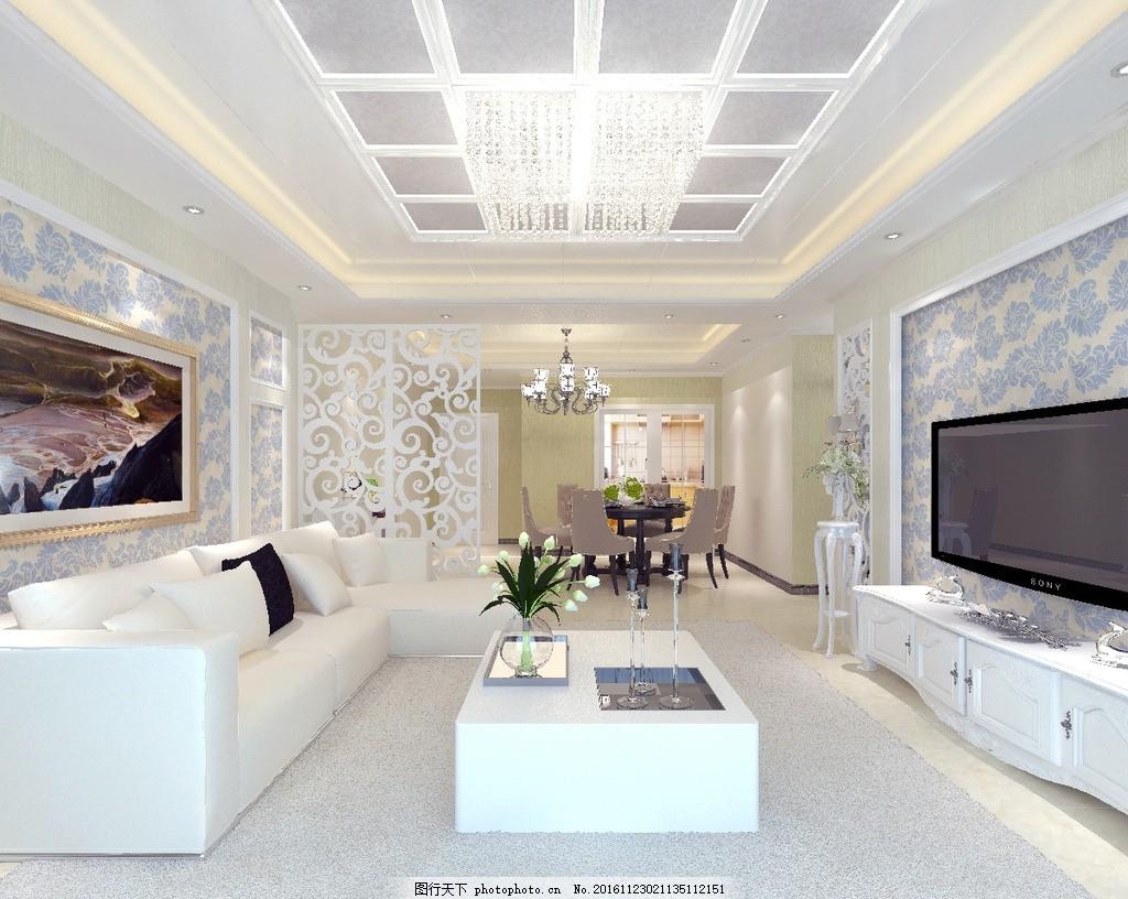 欧式效果图 电视墙 背景墙 风格 沙发 电视柜 客餐厅图片