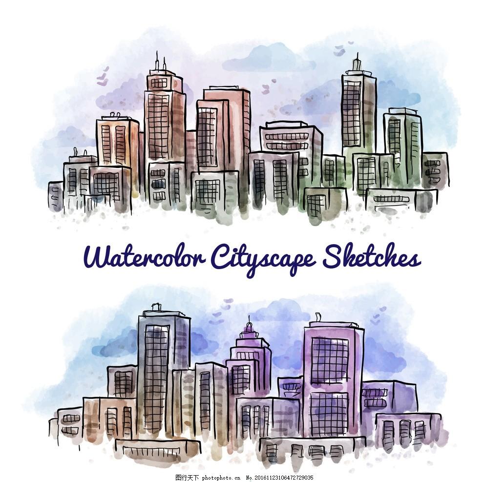 手绘水彩城市 背景 府 建筑 平面 绘画 现代 镇 城市景观 房屋